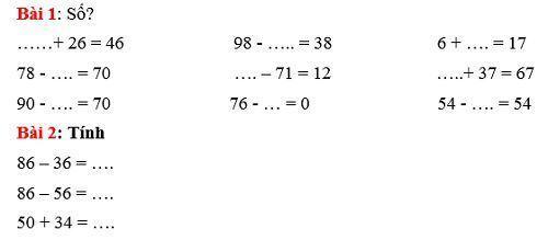 4 bài toán điền vào chỗ trống lớp 1
