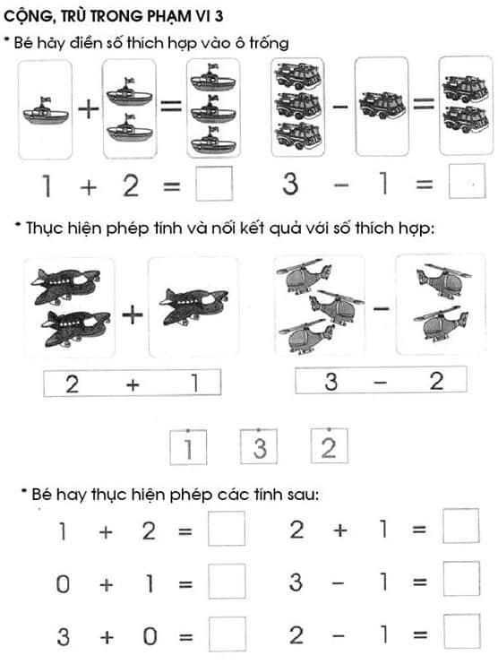 Bài tập cộng trừ trong phạm vi 3