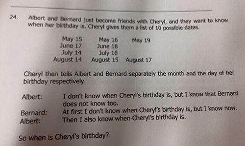 Bài toán tìm sinh nhật của Cheryl