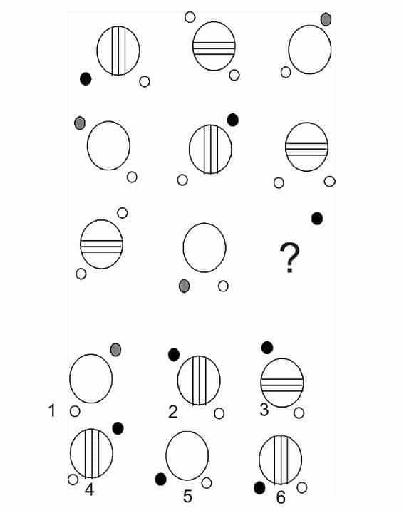 Chọn một trong 6 hình vẽ để điền vào dấu chấm hỏi