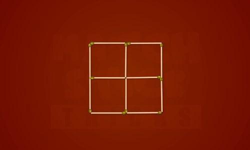 Hãy di chuyển 4 que diêm để tạo thành 3 hình vuông