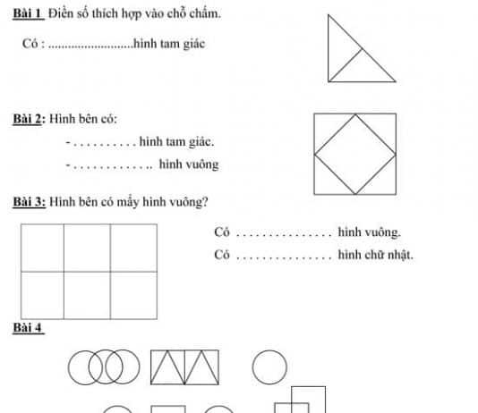 23 bài toán đếm hình dành cho học sinh lớp 1