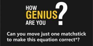 Bài toán di chuyển một que diêm để phép tính thành đúng