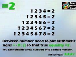 Làm thể nào để 12345678 = 2?