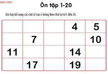 Bài toán điền các số theo thứ tự cho trẻ chuẩn bị vào lớp 1