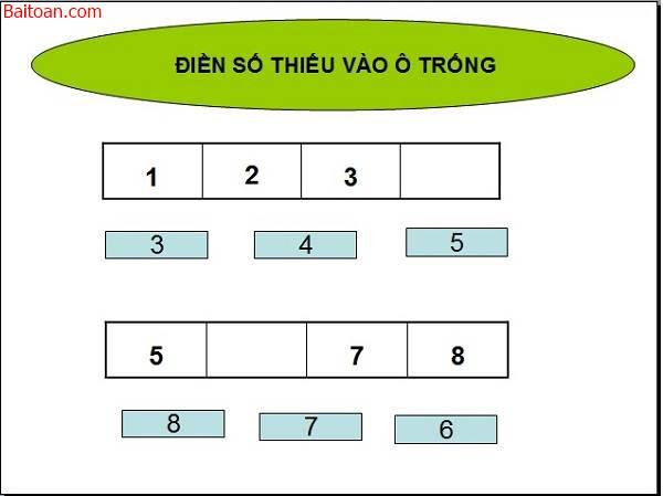 Bài toán điền số còn thiếu vào ô trống cho trẻ 5 tuổi