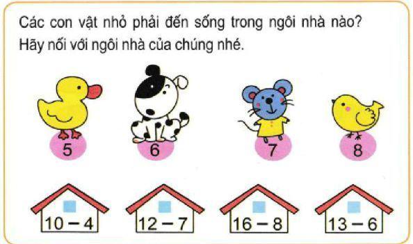 Bài tập nối số với ngôi nhà tương ứng
