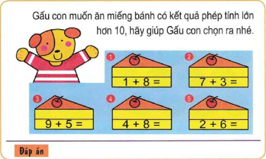 Bài toán giúp gấu con chọn ra miếng bánh