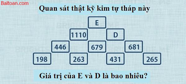 Bài toán logic tìm giá trị của D và E