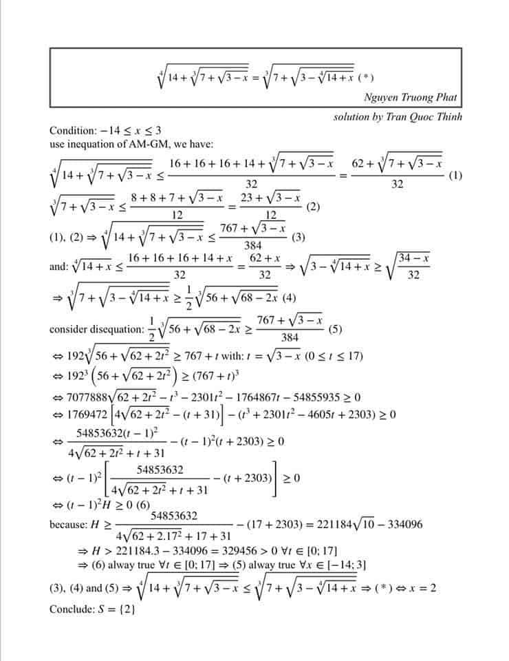 Bài toán giải phương trình căn thức bằng tiếng Anh