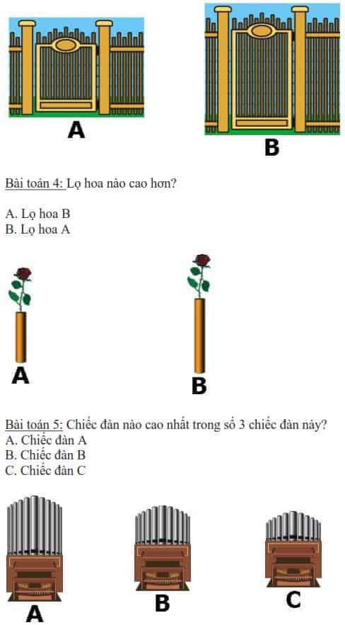 5 bài toán dạy bé phân biệt cao thấp-1
