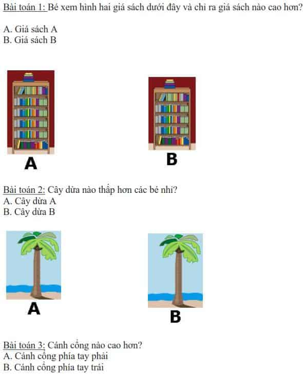 5 bài toán dạy bé phân biệt cao thấp