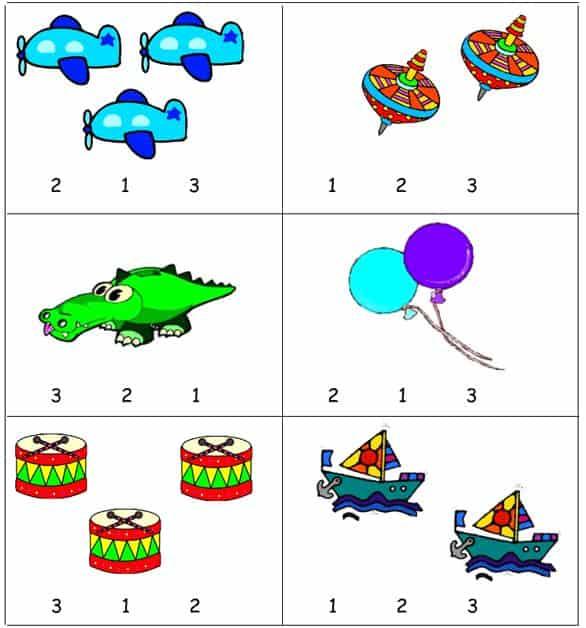 Bài tập khoanh tròn con số đúng - Toán mầm non