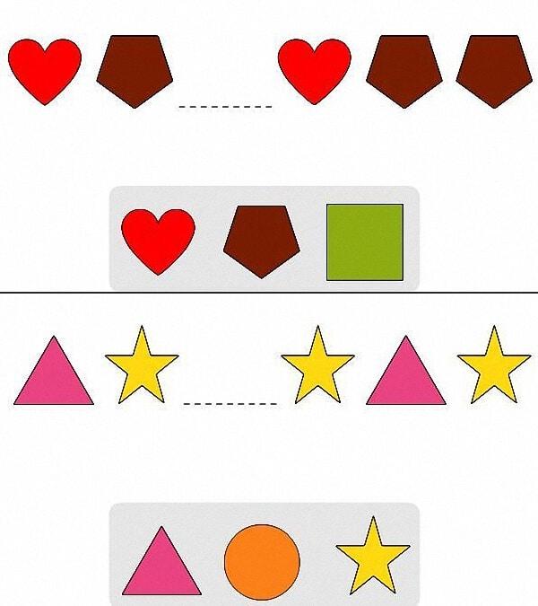 Bài toán nhận biết các hình dành cho bé 5 tuổi