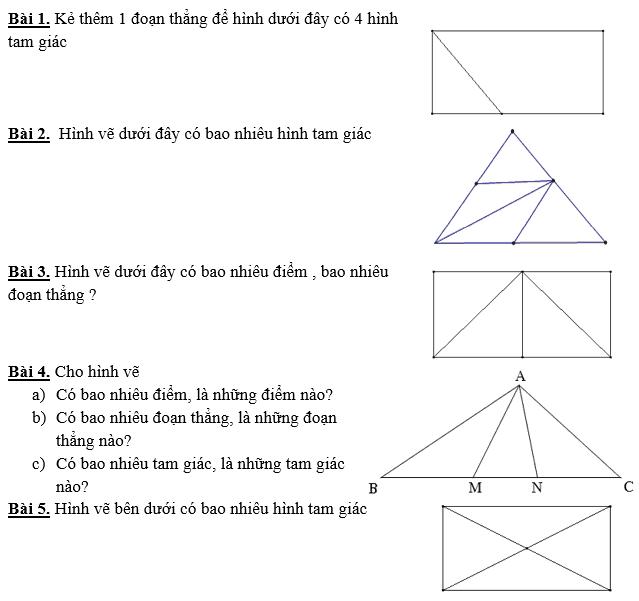 11 bài toán hình học dành cho học sinh lớp 1