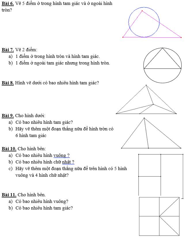 11 bài toán hình học dành cho học sinh lớp 1-1