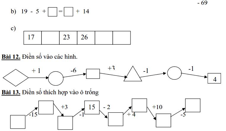 13 bài toán điền số cho học sinh lớp 1-1
