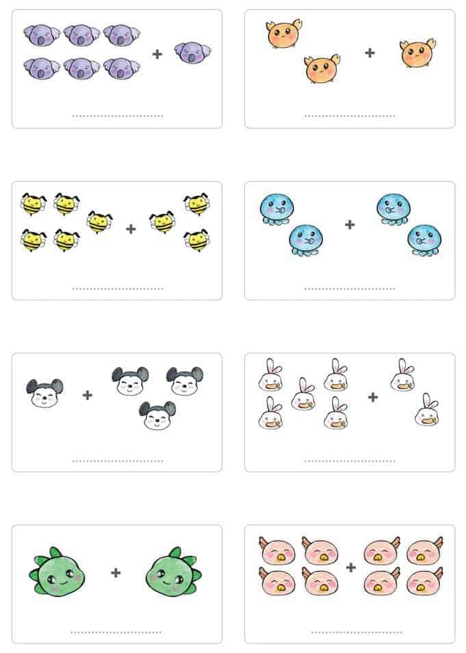 Bài tập cộng trong phạm vi 10 cho trẻ 5-6 tuổi bằng hình ảnh-1