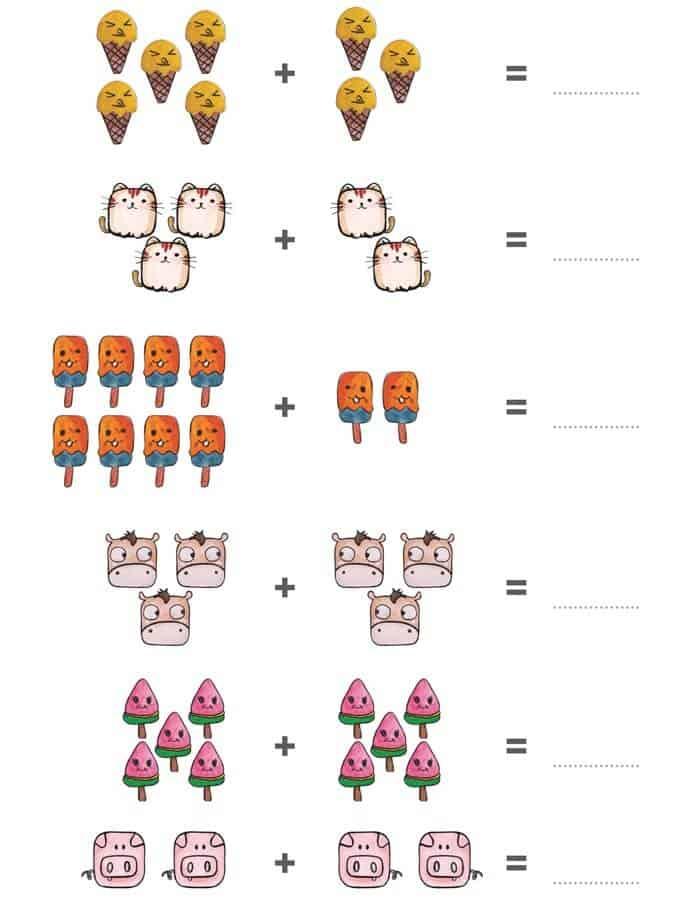 Bài tập cộng trong phạm vi 10 cho trẻ 5-6 tuổi bằng hình ảnh-2