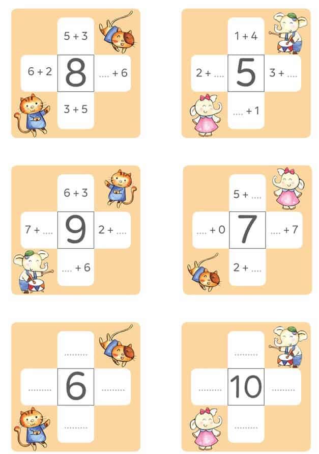 Bài tập cộng trong phạm vi 10 cho trẻ 5-6 tuổi bằng hình ảnh-4