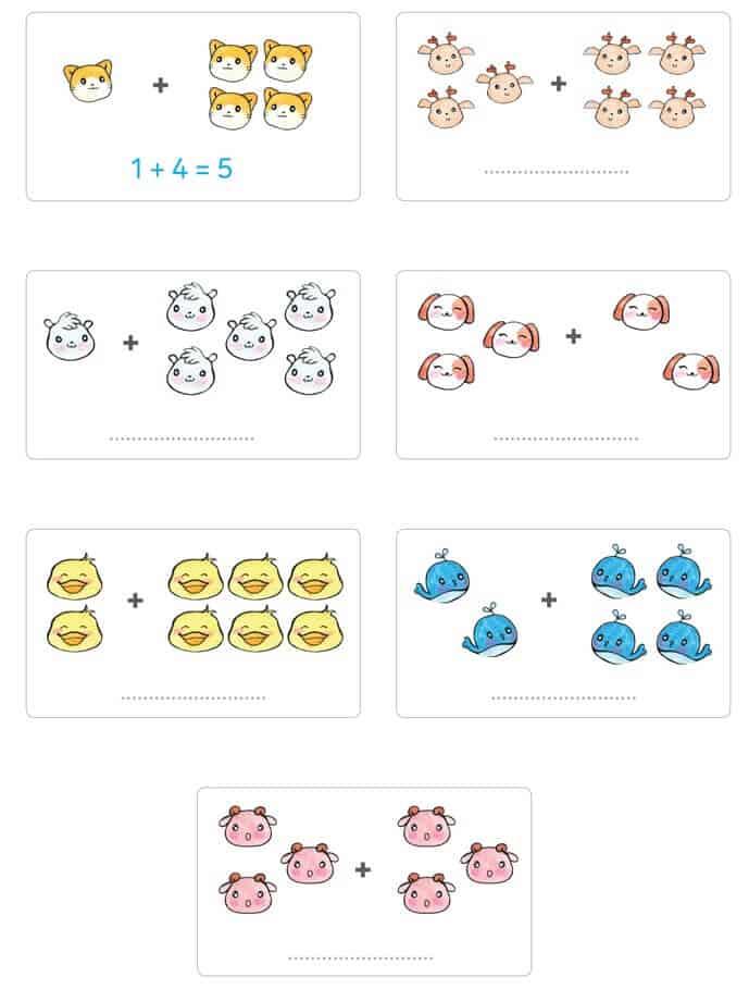 Bài tập cộng trong phạm vi 10 cho trẻ 5-6 tuổi bằng hình ảnh