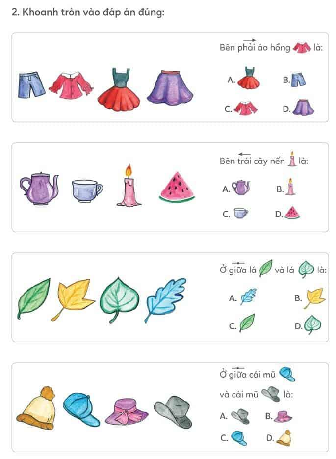 Bài tập xác định bên trái, bên phải, ở giữa cho trẻ từ 4-5 tuổi-2