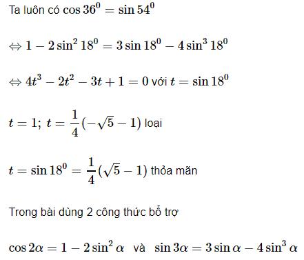 Bài toán tìm Sin18 độ bằng nhiều cách