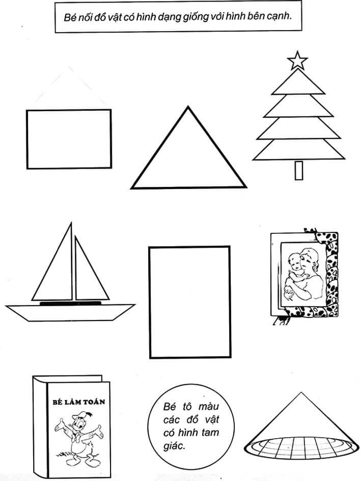 Bài tập nhận biết hình dạng tròn, tam giác, chữ nhật, hình vuông cho trẻ 5 tuổi-1