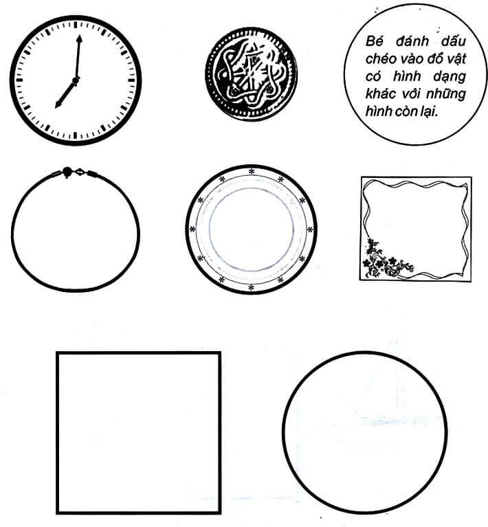 Bài tập nhận biết hình dạng tròn, tam giác, chữ nhật, hình vuông cho trẻ 5 tuổi