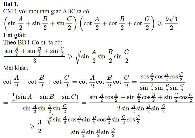 Một số bài toán chứng minh BĐT lượng giác có lời giải