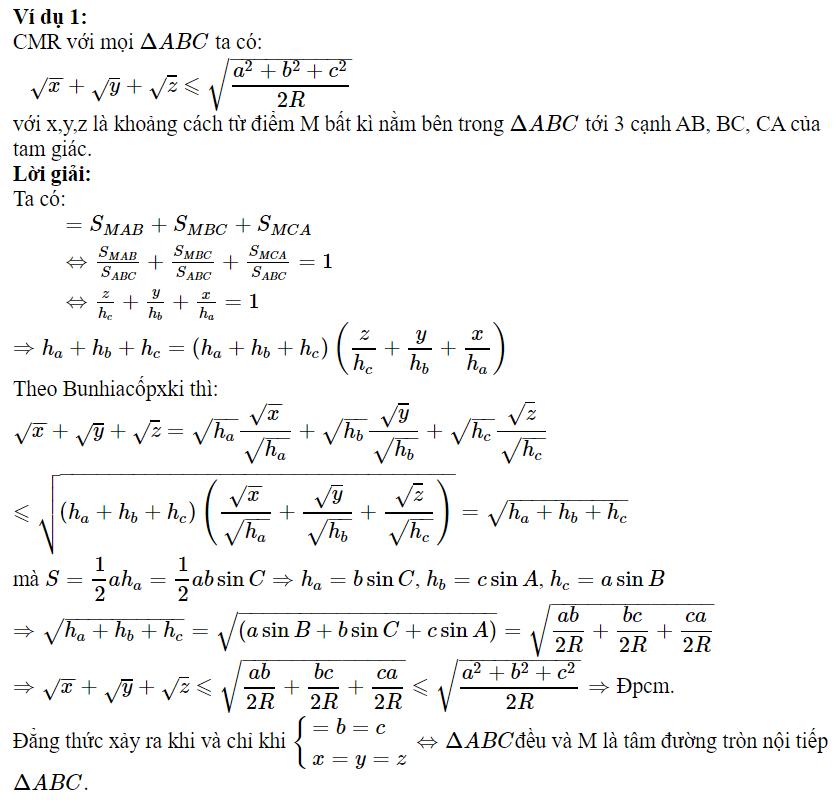 Sử dụng BĐT Bunhiacốpxki để chứng minh BĐT lượng giác-1