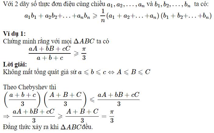 Sử dụng BĐT Chebyshev để chứng minh BĐT lượng giác
