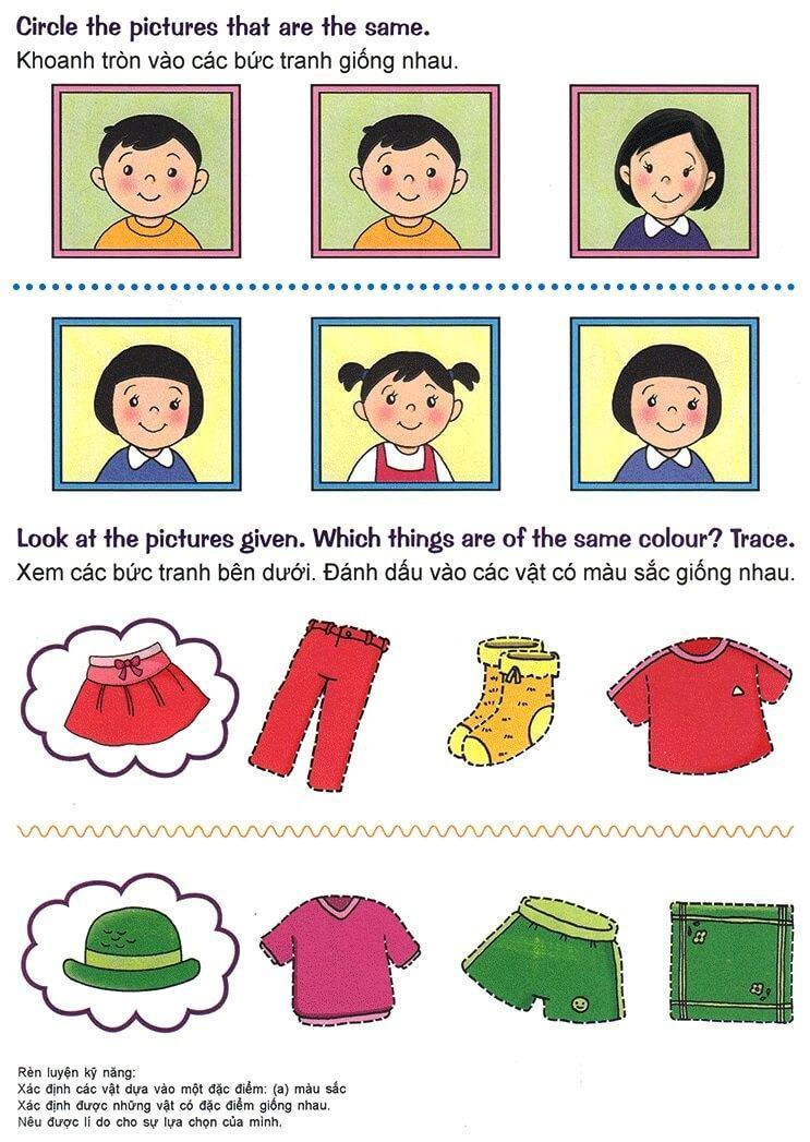 Nhận biết giống nhau, khác nhau, lớn nhỏ, cao thấp cho trẻ 3-5 tuổi-1