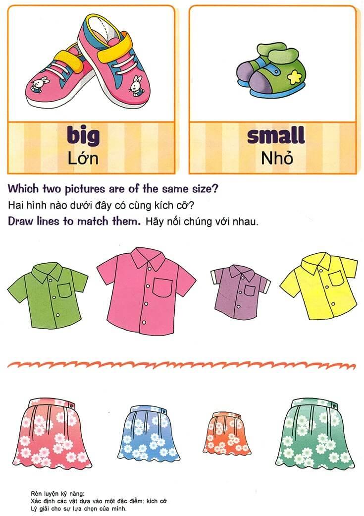 Nhận biết giống nhau, khác nhau, lớn nhỏ, cao thấp cho trẻ 3-5 tuổi-2