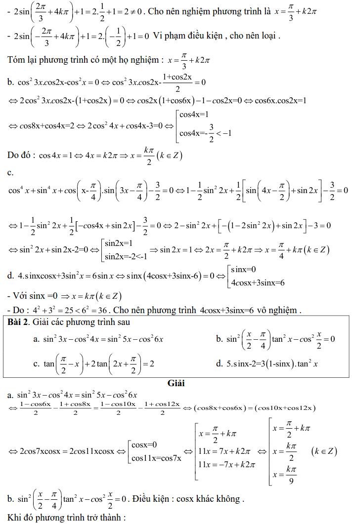 Bài tập phương trình bậc nhất, bậc hai đối với một hàm số lượng giác có lời giải-1