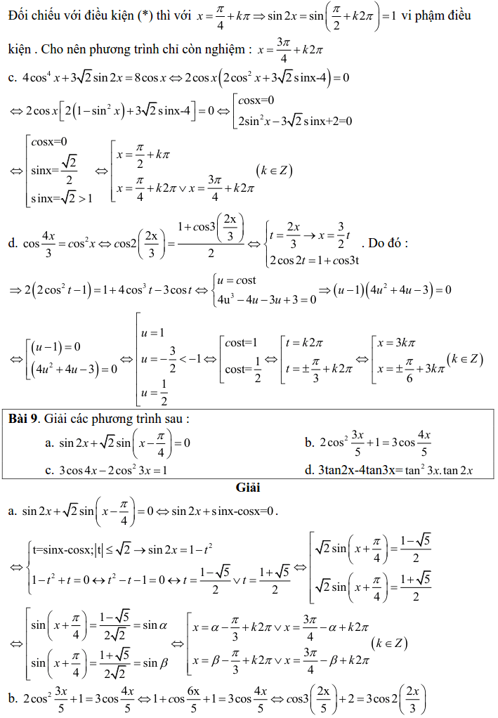 Bài tập phương trình bậc nhất, bậc hai đối với một hàm số lượng giác có lời giải-10