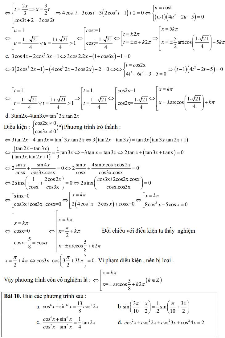 Bài tập phương trình bậc nhất, bậc hai đối với một hàm số lượng giác có lời giải-11