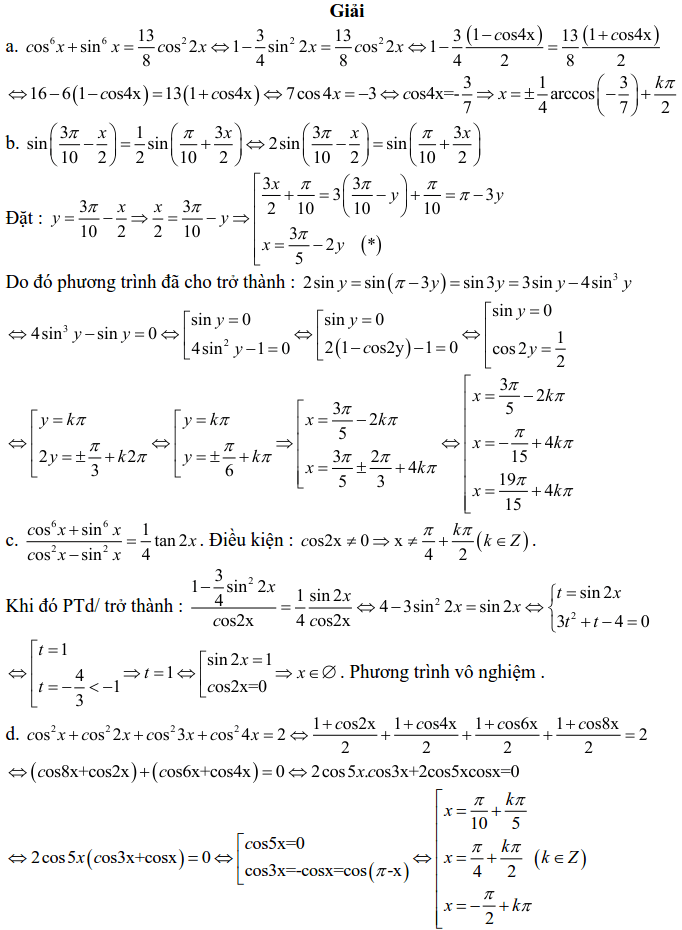 Bài tập phương trình bậc nhất, bậc hai đối với một hàm số lượng giác có lời giải-12