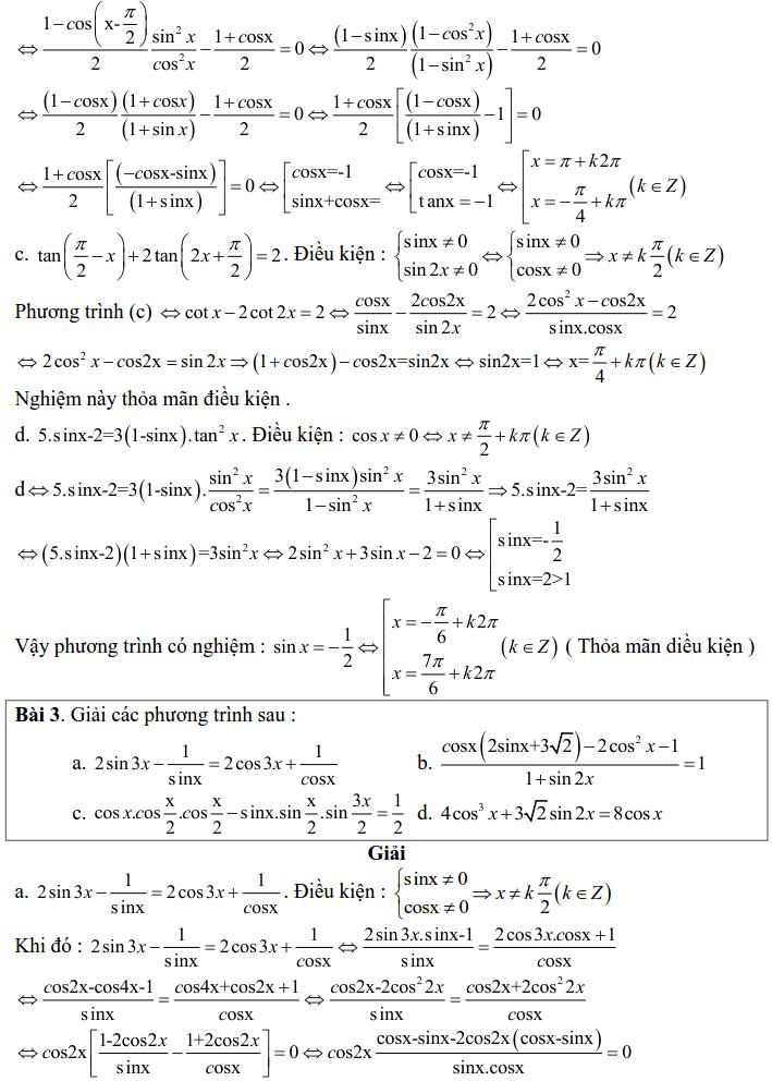 Bài tập phương trình bậc nhất, bậc hai đối với một hàm số lượng giác có lời giải-2