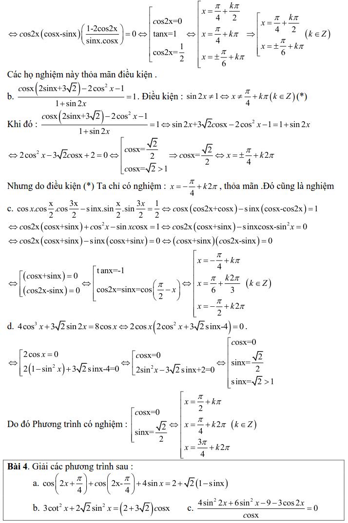 Bài tập phương trình bậc nhất, bậc hai đối với một hàm số lượng giác có lời giải-3