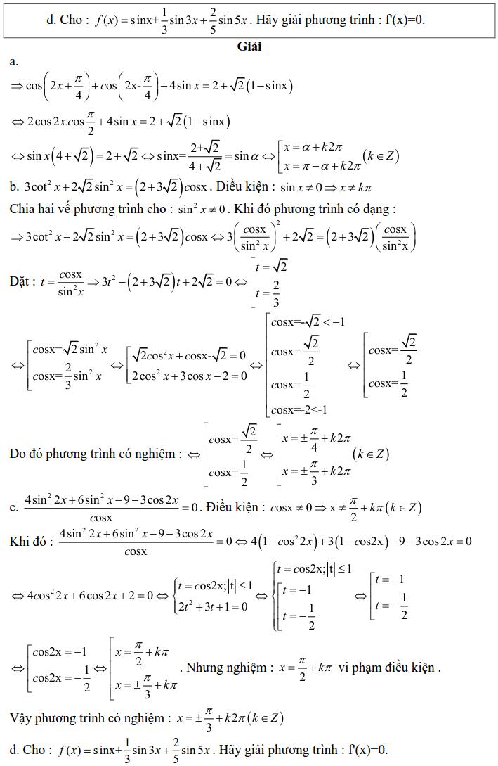 Bài tập phương trình bậc nhất, bậc hai đối với một hàm số lượng giác có lời giải-4