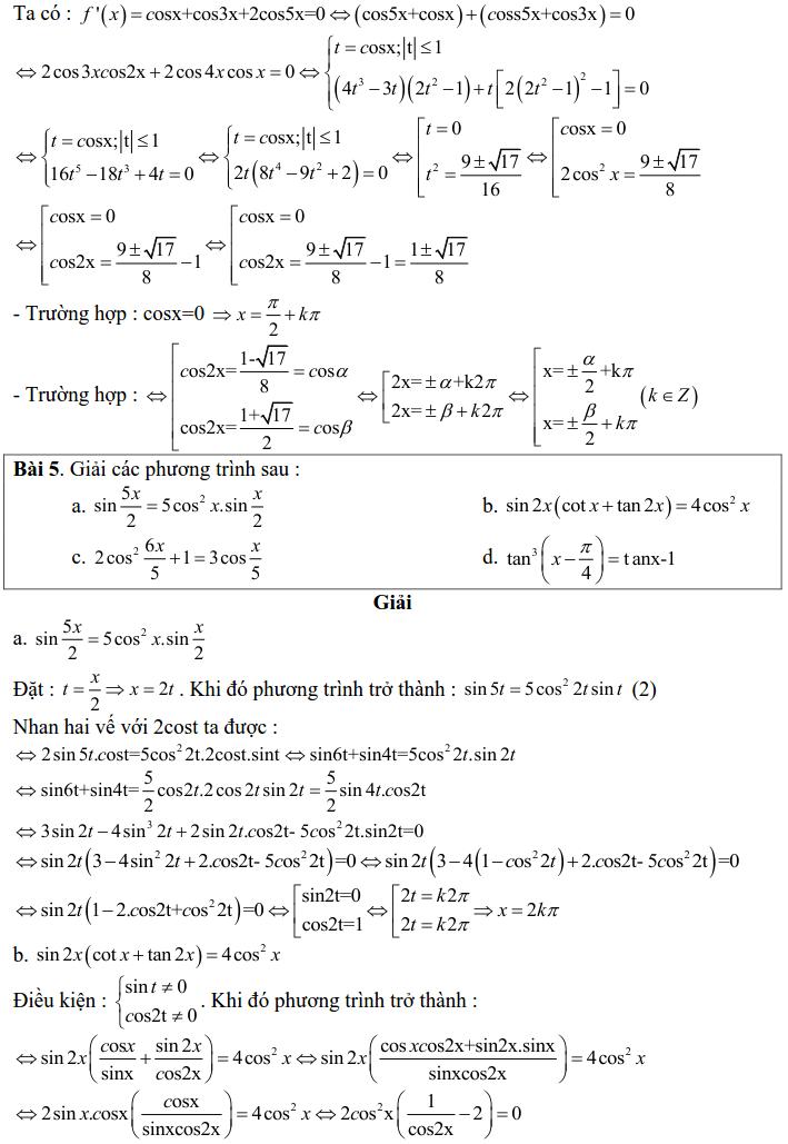 Bài tập phương trình bậc nhất, bậc hai đối với một hàm số lượng giác có lời giải-5