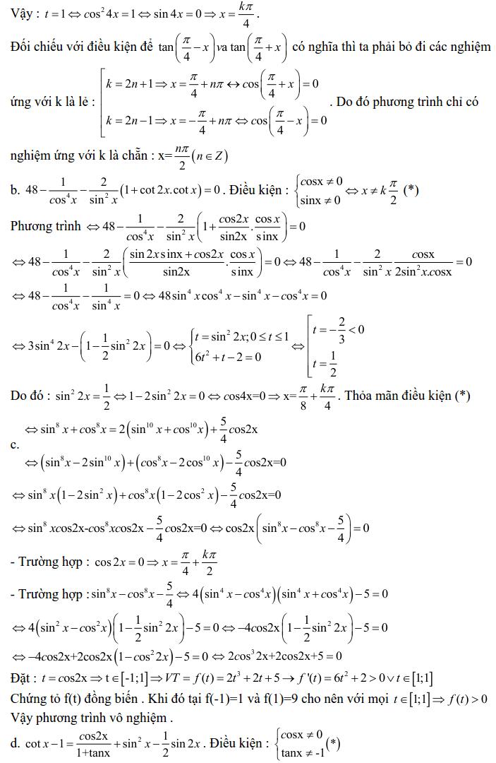 Bài tập phương trình bậc nhất, bậc hai đối với một hàm số lượng giác có lời giải-7