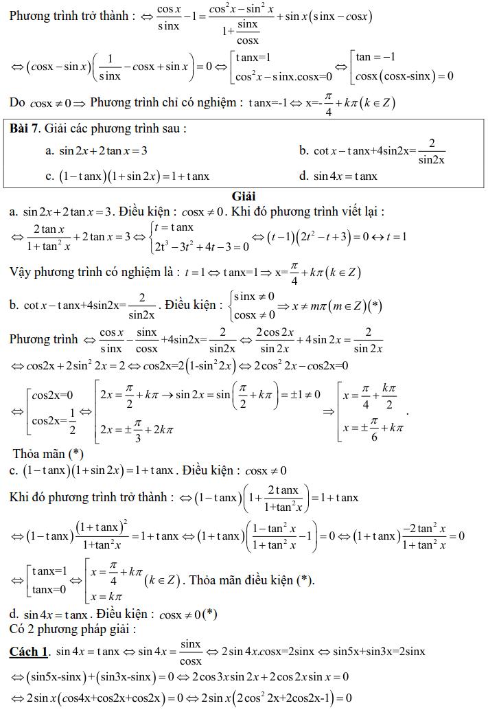 Bài tập phương trình bậc nhất, bậc hai đối với một hàm số lượng giác có lời giải-8