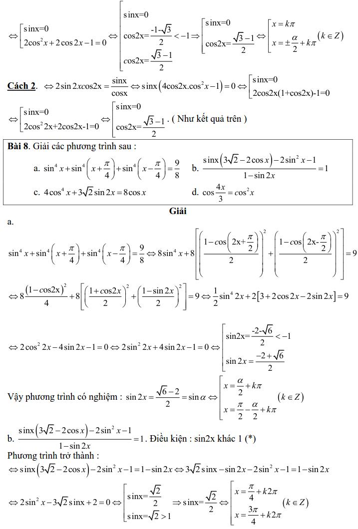 Bài tập phương trình bậc nhất, bậc hai đối với một hàm số lượng giác có lời giải-9