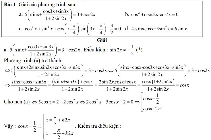 Bài tập phương trình bậc nhất, bậc hai đối với một hàm số lượng giác có lời giải
