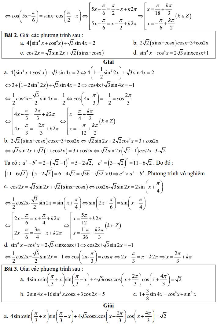 Bài tập phương trình bậc nhất đối với sinX và cosX có lời giải-1