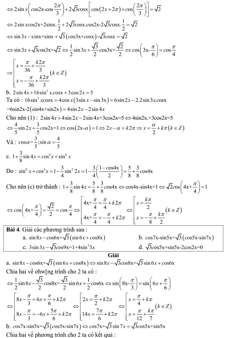 Bài tập phương trình bậc nhất đối với sinX và cosX có lời giải-2