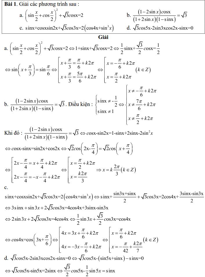 Bài tập phương trình bậc nhất đối với sinX và cosX có lời giải