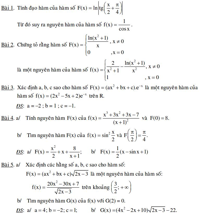 Bài toán xác định nguyên hàm bằng định nghĩa-3